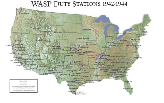 WASP BASES - Us map ww2